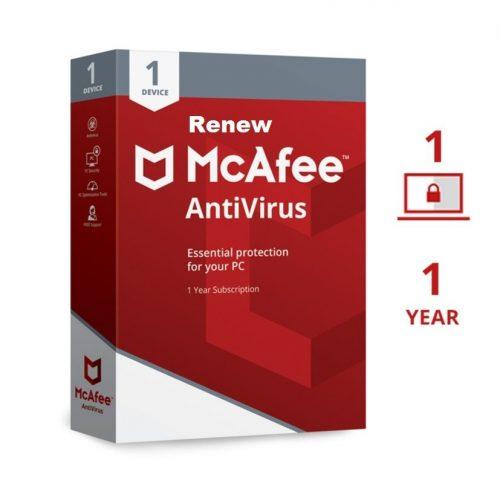 Renew McAfee Antivirus 1 User 1 Year