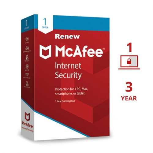 Renew Mcafee Internet Security 1 User 3 Years