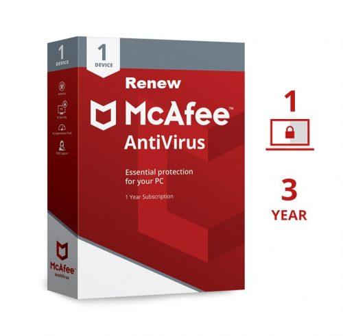 Renew McAfee Antivirus 1 User 3 Years