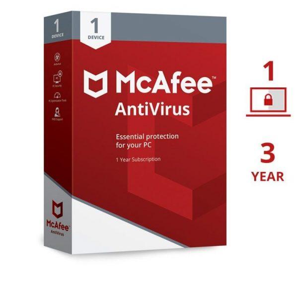McAfee Antivirus 1 User 3 Years